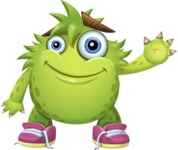 Funny Monster Cartoon Vector Character AKA Hal the Messy Pal - Wave