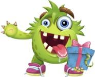 Funny Monster Cartoon Vector Character AKA Hal the Messy Pal - Gift