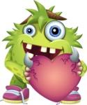 Funny Monster Cartoon Vector Character AKA Hal the Messy Pal - Love