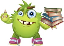 Funny Monster Cartoon Vector Character AKA Hal the Messy Pal - Books