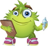 Funny Monster Cartoon Vector Character AKA Hal the Messy Pal - Note 1