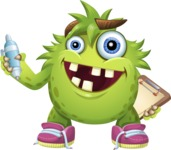 Funny Monster Cartoon Vector Character AKA Hal the Messy Pal - Note 2