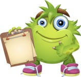 Funny Monster Cartoon Vector Character AKA Hal the Messy Pal - Note 3