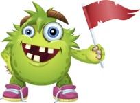 Funny Monster Cartoon Vector Character AKA Hal the Messy Pal - Flag