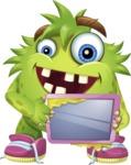 Funny Monster Cartoon Vector Character AKA Hal the Messy Pal - iPad 1