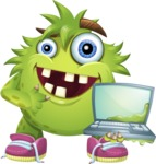 Funny Monster Cartoon Vector Character AKA Hal the Messy Pal - Laptop 1
