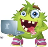 Funny Monster Cartoon Vector Character AKA Hal the Messy Pal - Laptop 2