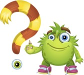 Funny Monster Cartoon Vector Character AKA Hal the Messy Pal - Question Mark