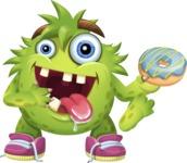 Funny Monster Cartoon Vector Character AKA Hal the Messy Pal - Doughnut