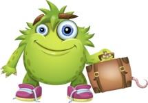 Funny Monster Cartoon Vector Character AKA Hal the Messy Pal - Travel