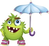 Funny Monster Cartoon Vector Character AKA Hal the Messy Pal - Umbrella