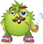 Funny Monster Cartoon Vector Character AKA Hal the Messy Pal - Mustache and Pipe