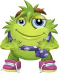 Funny Monster Cartoon Vector Character AKA Hal the Messy Pal - Scarf