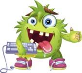 Funny Monster Cartoon Vector Character AKA Hal the Messy Pal - Keyboard