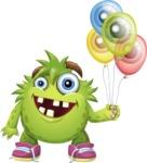 Funny Monster Cartoon Vector Character AKA Hal the Messy Pal - Balloons