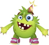 Funny Monster Cartoon Vector Character AKA Hal the Messy Pal - Party Hat