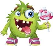 Funny Monster Cartoon Vector Character AKA Hal the Messy Pal - Lolipop