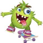 Funny Monster Cartoon Vector Character AKA Hal the Messy Pal - Skateboard