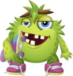 Funny Monster Cartoon Vector Character AKA Hal the Messy Pal - Skateboard 2