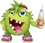 Funny Monster Cartoon Vector Character AKA Hal the Messy Pal - Drink