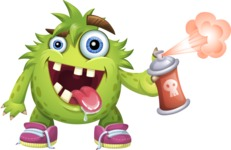 Funny Monster Cartoon Vector Character AKA Hal the Messy Pal - Spray