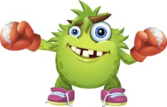 Funny Monster Cartoon Vector Character AKA Hal the Messy Pal - Boxing