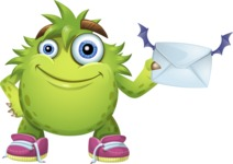 Funny Monster Cartoon Vector Character AKA Hal the Messy Pal - Letter