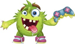 Funny Monster Cartoon Vector Character AKA Hal the Messy Pal - Joystick