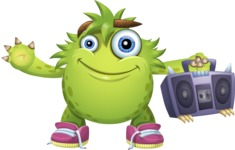 Funny Monster Cartoon Vector Character AKA Hal the Messy Pal - Music