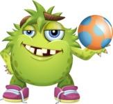 Funny Monster Cartoon Vector Character AKA Hal the Messy Pal - Ball