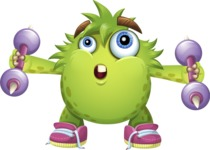 Funny Monster Cartoon Vector Character AKA Hal the Messy Pal - Work Out