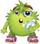 Funny Monster Cartoon Vector Character AKA Hal the Messy Pal - Sleepy