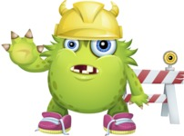 Funny Monster Cartoon Vector Character AKA Hal the Messy Pal - Construction