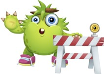 Funny Monster Cartoon Vector Character AKA Hal the Messy Pal - Construction 2