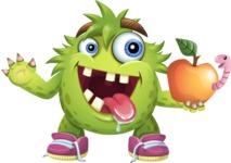 Funny Monster Cartoon Vector Character AKA Hal the Messy Pal - Apple