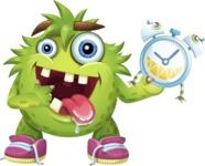 Funny Monster Cartoon Vector Character AKA Hal the Messy Pal - On Time