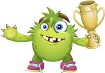 Funny Monster Cartoon Vector Character AKA Hal the Messy Pal - Trophy