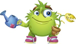 Funny Monster Cartoon Vector Character AKA Hal the Messy Pal - Plant