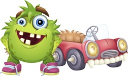 Funny Monster Cartoon Vector Character AKA Hal the Messy Pal - Monster Car