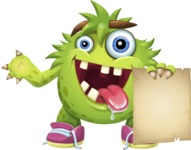Funny Monster Cartoon Vector Character AKA Hal the Messy Pal - Sign 2