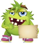 Funny Monster Cartoon Vector Character AKA Hal the Messy Pal - Sign 3
