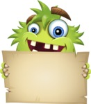 Funny Monster Cartoon Vector Character AKA Hal the Messy Pal - Sign 4