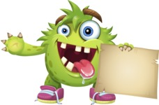 Funny Monster Cartoon Vector Character AKA Hal the Messy Pal - Sign 5
