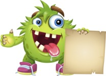 Funny Monster Cartoon Vector Character AKA Hal the Messy Pal - Sign 6