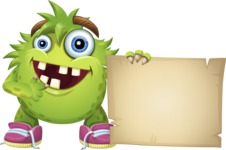 Funny Monster Cartoon Vector Character AKA Hal the Messy Pal - Sign 7