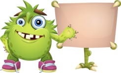 Funny Monster Cartoon Vector Character AKA Hal the Messy Pal - Presentation 1