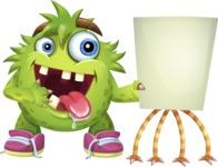 Funny Monster Cartoon Vector Character AKA Hal the Messy Pal - Presentation 2
