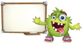 Funny Monster Cartoon Vector Character AKA Hal the Messy Pal - Presentation 3