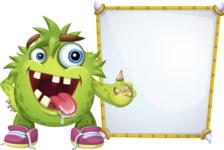 Funny Monster Cartoon Vector Character AKA Hal the Messy Pal - Presentation 4