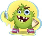 Funny Monster Cartoon Vector Character AKA Hal the Messy Pal - Shape 1